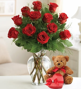 Rose Lovers Bouquet™ - One Dozen Red Bear and Chocolate