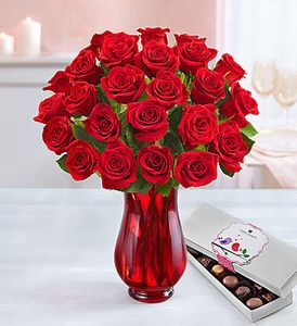 Two Dozen Red Roses with Chocolate