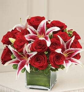 Rose and Lily Cube Bouquet Valentines