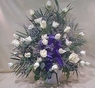 White Rose Funeral Basket