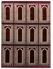 12 Person (3x4 Design; 3 rows of 4 Persons) Large Style Turkish Prayer Rug (6.5 x 12 ft. approximate) - (Exact Rug May Be Different Than Shown) Fits Up to # of Persons Indicated ELIGIBLE FOR FREE USA SHIPPING