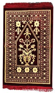 "Plusher Prayer Rug (Thicker) 27.5"" x 43"" not including the tassles - Better for Hard Surfaces than Standard Prayer Rugs (Assorted Colors and Designs)"