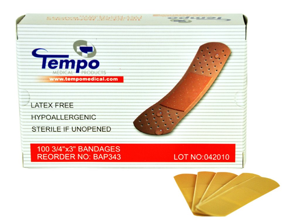 61a29b6478370 Tempo Latex Free Fabric Bandages - 3/4 x 3in - Box of 100