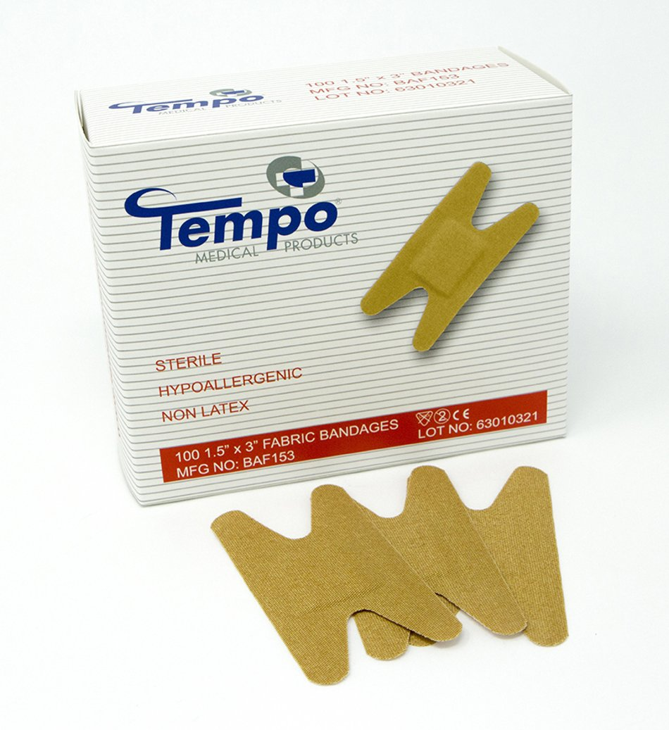 Tempo Latex Free Knuckle Bandages - 1 5 x 3in - Box of 100