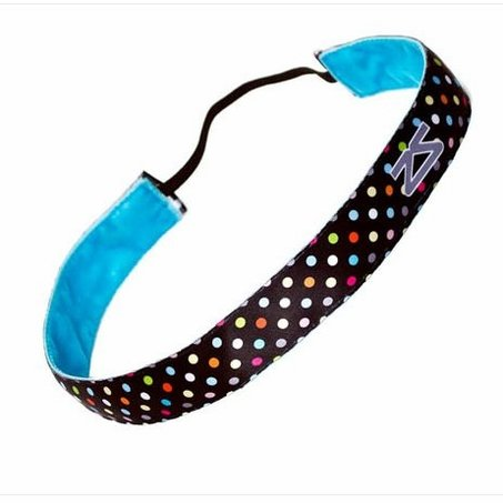 Zensah Headband - Polka Dot, Black/Neon Rainbow