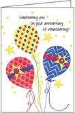AH465V - Balloons Anniversary Card for Volunteers