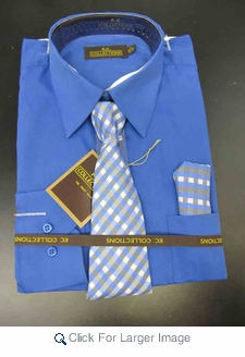 Men's L/S Dress Shirts W/ Tie & Handkerchief - French Blue  (Ties Vary) - Click to enlarge