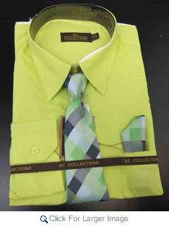 Men's L/S Dress Shirts W/ Tie & Handkerchief - Key Lime  (Ties Vary) - Click to enlarge