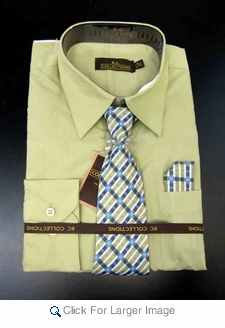 Men's L/S Dress Shirts W/ Tie & Handkerchief - Light Olive  (Ties Vary) - Click to enlarge