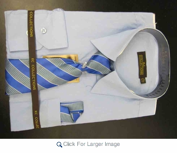 Men's L/S Dress Shirts W/ Tie & Handkerchief - Lt Blue  (Ties Vary) - Click to enlarge