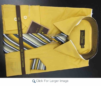 Men's L/S Dress Shirts W/ Tie & Handkerchief - Mustard  (Ties Vary) - Click to enlarge