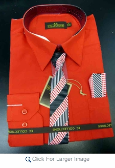 Men's L/S Dress Shirts W/ Tie & Handkerchief - Red  (Ties Vary) - Click to enlarge