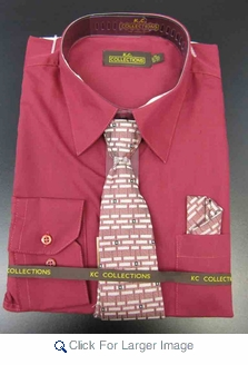 Men's L/S Dress Shirts W/ Tie & Handkerchief - Rose  (Ties Vary) - Click to enlarge