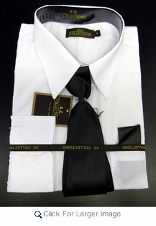 Men's L/S Dress Shirts W/ Tie & Handkerchief - White (Ties Vary) - Click to enlarge