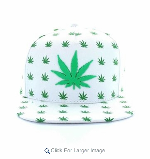 Wholesale 3D 'Weed' Snapback Hat Flat Bill - A-JOY-0563-WT $5/pc - Click to enlarge