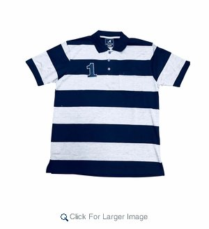 Wholesale Active Wear Striped Polos Navy - Click to enlarge