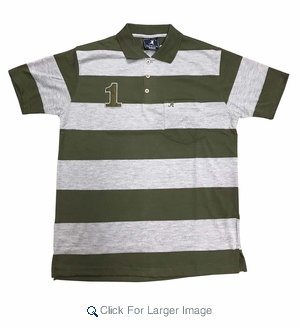 Wholesale Active Wear Striped Polos Olive - Click to enlarge
