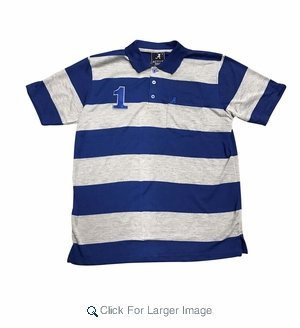 Wholesale Active Wear Striped Polos Royal - Click to enlarge