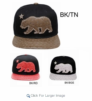Wholesale Cali Bear Snapback Hats - $4.00/pc - A-GJ-0941 - Click to enlarge