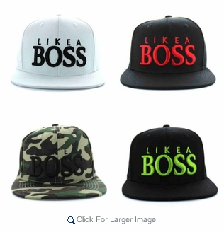 """Wholesale Embroidered """"Like A BOSS"""" Snapback Hats - $4.50/pc - Click to enlarge"""
