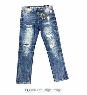 Wholesale Fashion Washed Straight Slim Fit Jeans - $18.50 - M-NRC-2883-LT - Click to enlarge