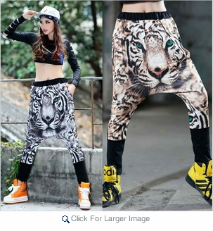 Wholesale Hip Hop Skate Dance Pants - Tiger Print - $10.50/pc - Click to enlarge