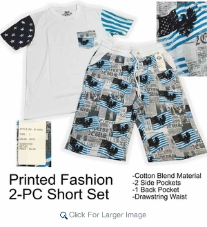 Wholesale Men's Cotton Blend 2-PC Flag Sets - White - Click to enlarge