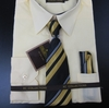 Men's L/S Dress Shirts W/ Tie & Handkerchief - Canary Yellow  (Ties Vary)