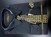 Men's L/S Dress Shirts W/ Tie & Handkerchief - Black  (Ties Vary)