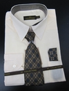 Men's L/S Dress Shirts W/ Tie & Handkerchief - Cream  (Ties Vary)