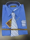 Men's L/S Dress Shirts W/ Tie & Handkerchief - French Blue  (Ties Vary)