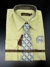 Men's L/S Dress Shirts W/ Tie & Handkerchief - Light Olive  (Ties Vary)