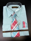 Men's L/S Dress Shirts W/ Tie & Handkerchief - Aqua  (Ties Vary)