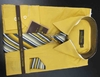 Men's L/S Dress Shirts W/ Tie & Handkerchief - Mustard  (Ties Vary)