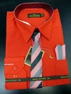 Men's L/S Dress Shirts W/ Tie & Handkerchief - Red  (Ties Vary)
