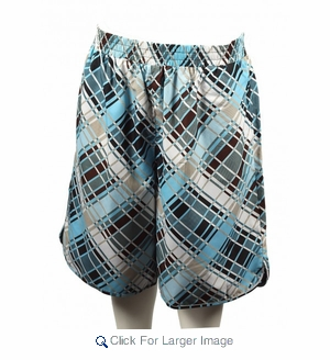 Wholesale Men's Loose Fit Polyester Plaid Print Long Shorts - Click to enlarge