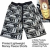 Wholesale Men's Printed Fleece Shorts - Money Black/White