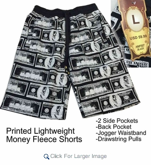 Wholesale Men's Printed Fleece Shorts - Money Black/White - Click to enlarge