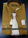 Men's L/S Dress Shirts W/ Tie & Handkerchief - Chocolate  (Ties Vary)