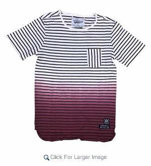 Wholesale Ombre Fade Striped Pocket Tee Burgundy - M-SQR-1OMB-BUR - Click to enlarge