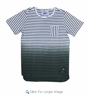 Wholesale Ombre Fade Striped Pocket Tee Olive - M-SQR-1OMB-OL - Click to enlarge