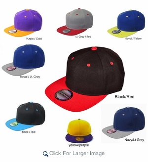 Wholesale Plain Snapback - Two-Tone Hats Assorted Colors - Click to enlarge