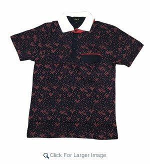 Wholesale Printed Polo With Contrast Collar Navy Red - Click to enlarge