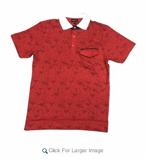 Wholesale Printed Polo With Contrast Collar Red Navy - Click to enlarge