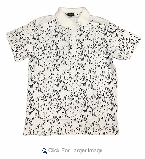 Wholesale Printed Polo With Contrast Collar White Black - Click to enlarge