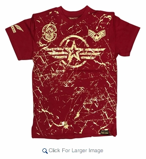 Wholesale Switch Starwings Military Patch Tees Red - M-SWI-1STW-RD - Click to enlarge