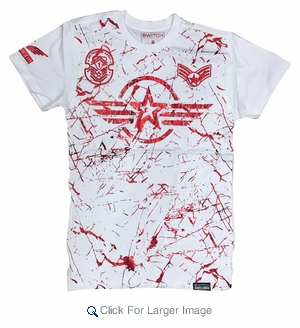 Wholesale Switch Starwings Military Patch Tees White Red - M-SWI-1STW-WTRD - Click to enlarge