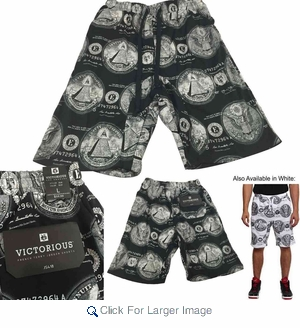 Wholesale Victorious French Terry Knit Money Seal Print Shorts - $8.50/pc - M-VCT-3418-BK - Click to enlarge