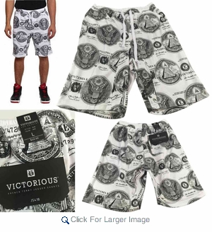 Wholesale Victorious French Terry Knit Money Seal Print Shorts - $8.50/pc - M-VCT-3418-WT - Click to enlarge