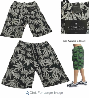 Wholesale Victorious French Terry Knit Weed Print Shorts - $8.50/pc - M-VCT-3417-BK - Click to enlarge